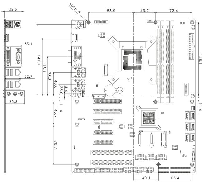 IMBA-Q170-i2 Dimensions