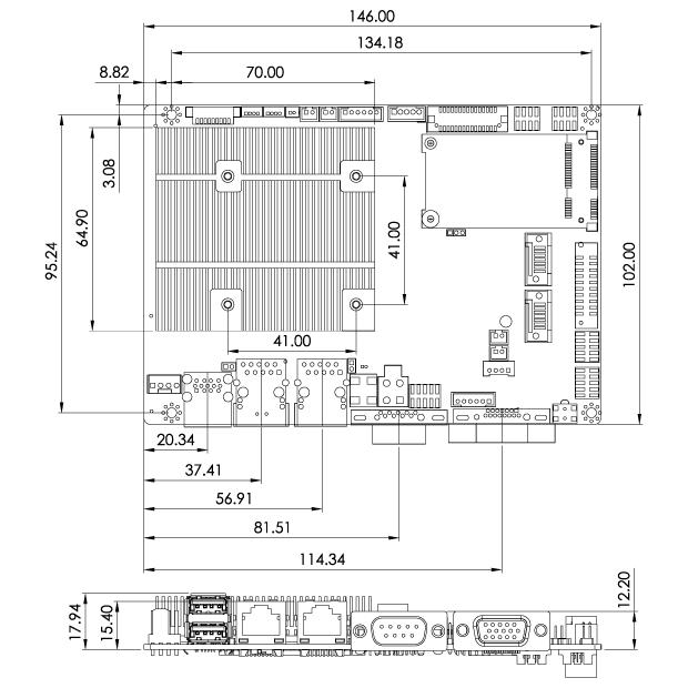 WAFER-BT-E38001W2 Dimensions